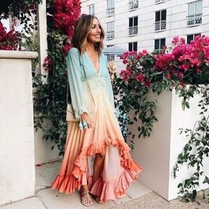 High-Low Ombre Bohemian Low C Smocked Dress